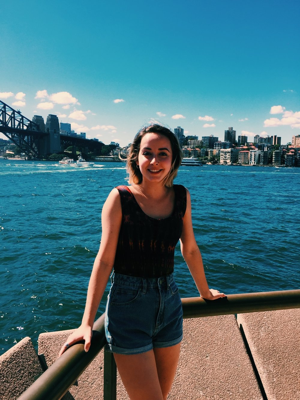 •   Intern Jillian Meehan and Sydney Harbour bridge