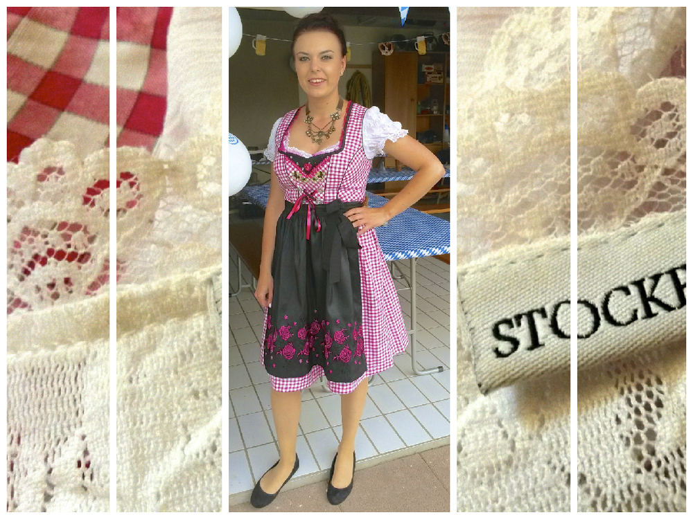 Sarah in the Fuchs-Trachtenmoden dress, with a Drindl blouse from Stockerpoint and black Ballerinas from H&M
