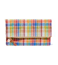 Plaid fold-over woven canvas clutch Clare V / NET-A-PORTER £155