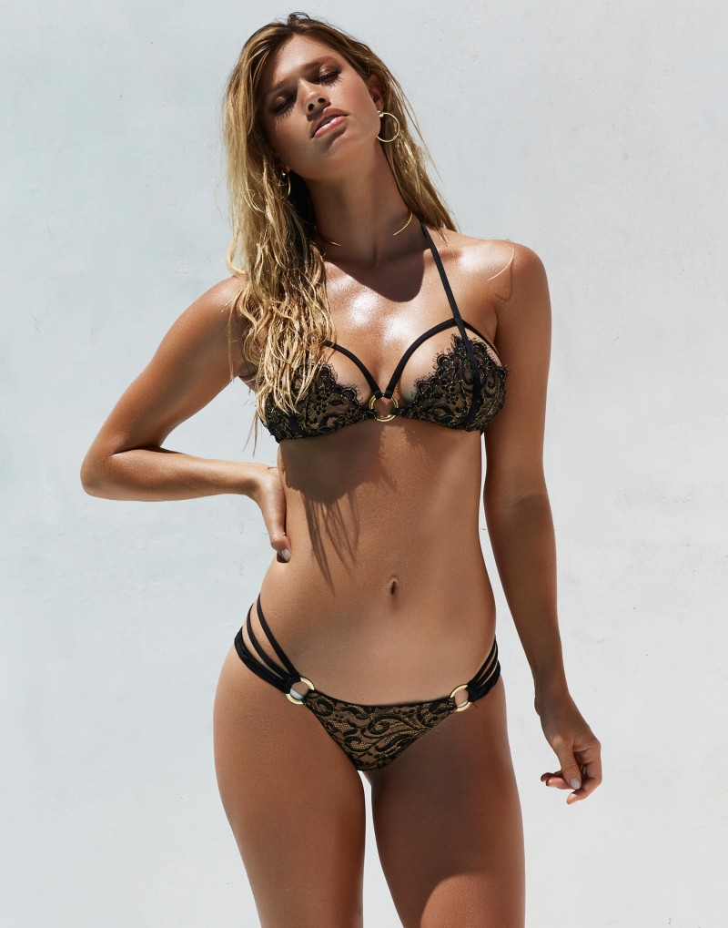- Fixed triangle bikini tops provide limited adjustment at front.  Ideally supports up to cup size D.