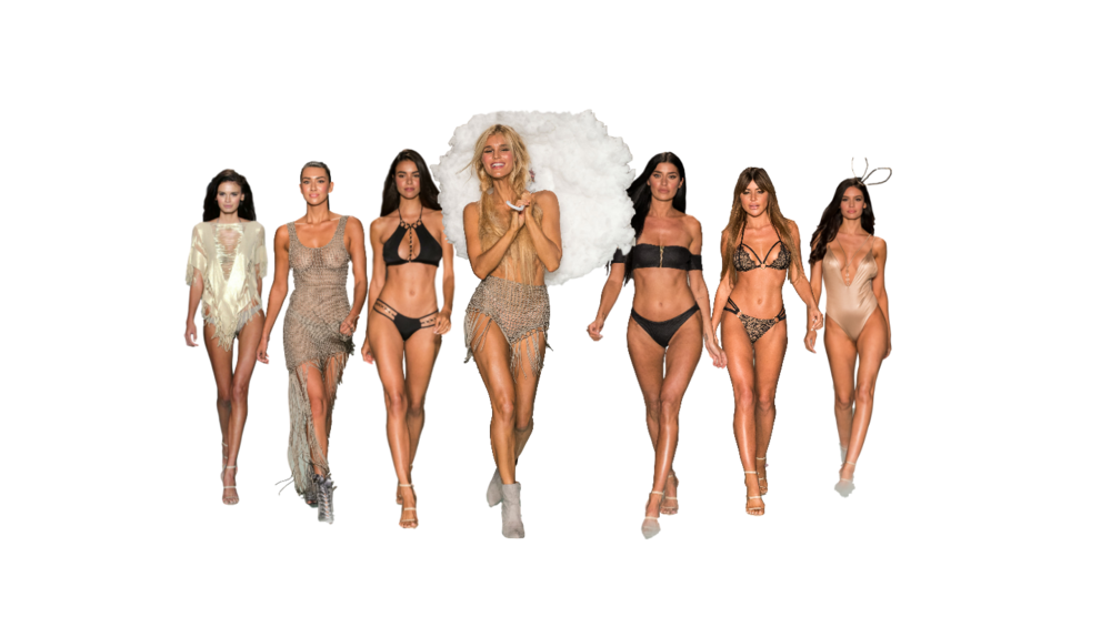 RNWY - Beach Bunny - 'Heaven on Earth' Resort'18 runway show drew inspiration from glam and luxury fabrics that either flowed with attitude or were stunningly structured to the body. Models were sent down the runway in molten golds, black on gold metal and velvet textures.
