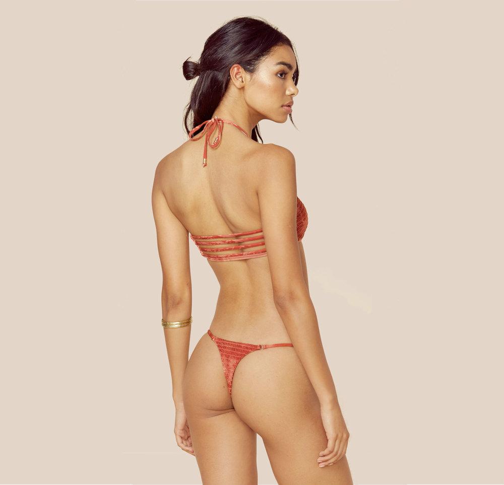 Scrunchy Bandeau Bikini w/ Thong Bikini Bottom Papaya from £60
