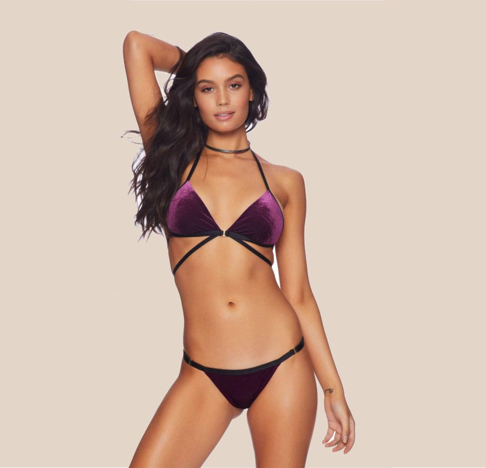 Renegade Velvet Wrap Top Bikini Plum from £90