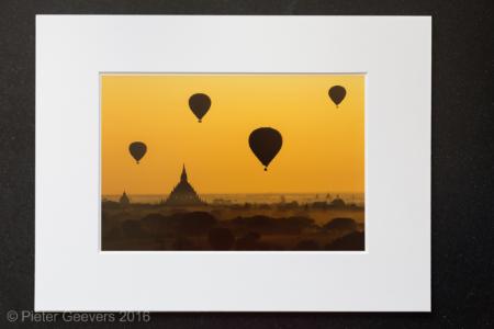 'Bagan balloons, Myanmar'matted print