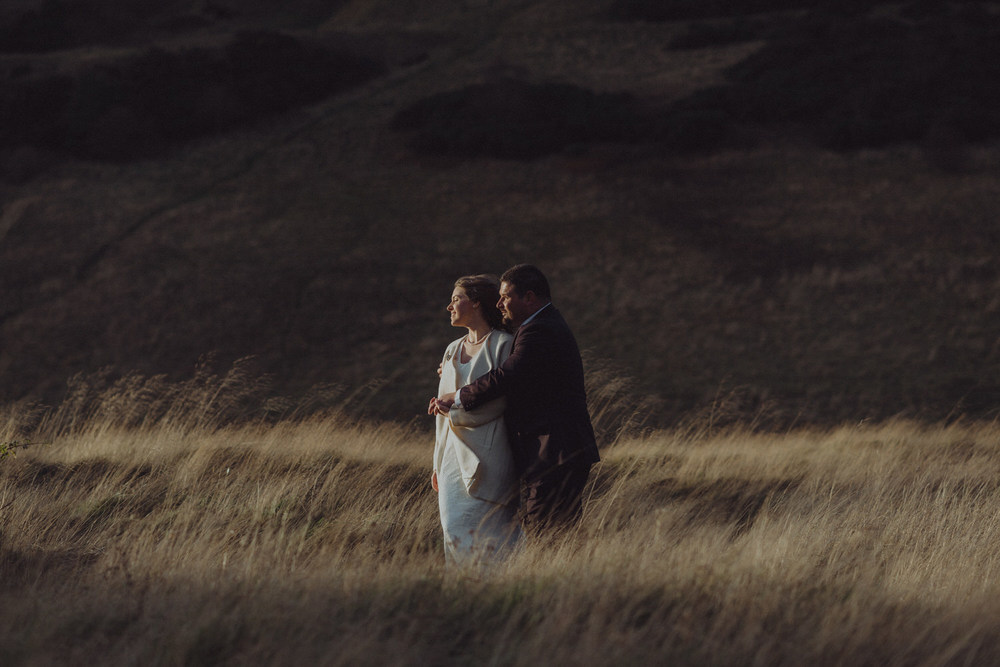 Andrew & Joanne in Holyrood Park on their Edinburgh elopement in winter 2015