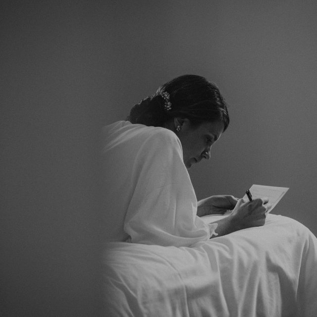 A writer writing letters to her writer lover in the morning of their wedding. Oh yes, this happened in Ireland - we like #Ireland, we like love stories and intimated moments in black and white. #bnw_captures #donegalweddingphotography #irelandweddingphotographer