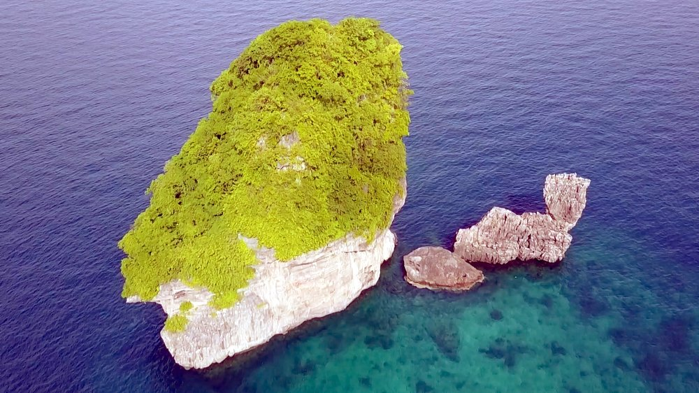 Drone over Nui Bay Dive Site - Phi Phi Thailand - Beachfront Divers