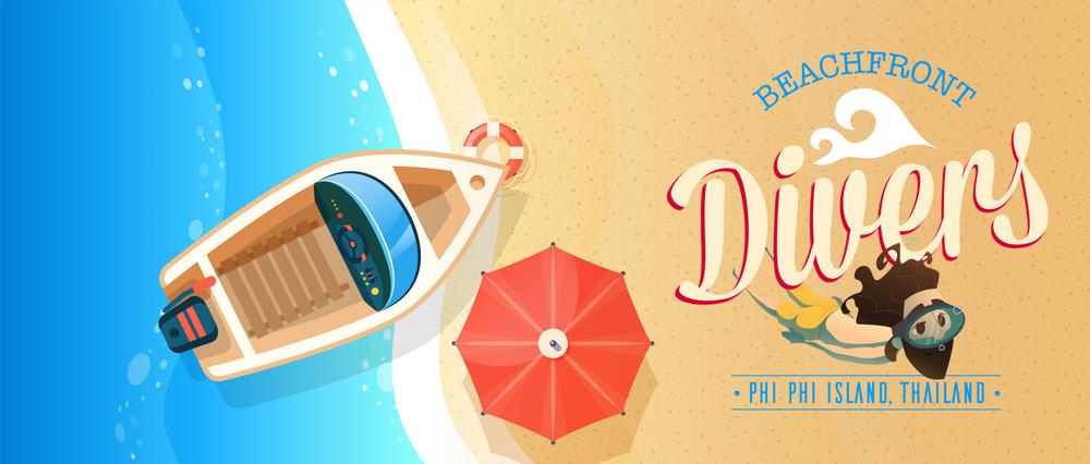Beachfront Divers - SCUBA Diving Phi Phi Thailand - Boat Banner