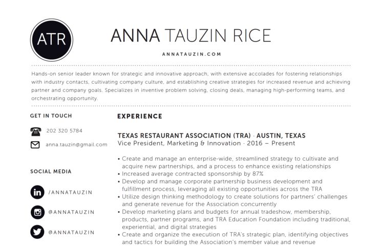 Resume — Anna Tauzin Rice