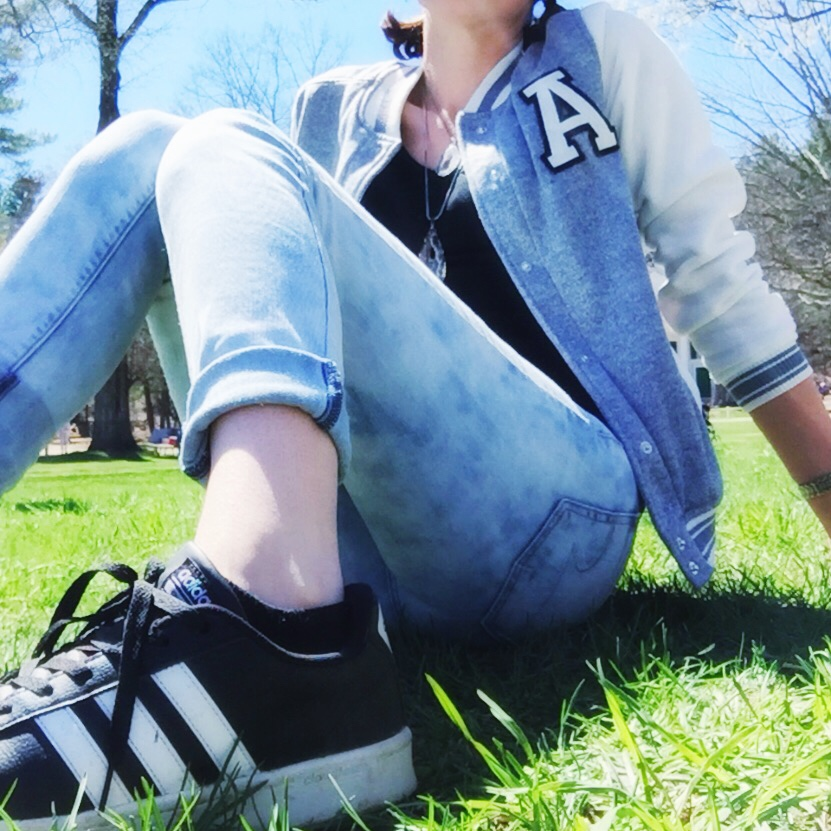 ADIDAS Superstars |Acid Washed Skinny Jeans | Lettermans Jacket