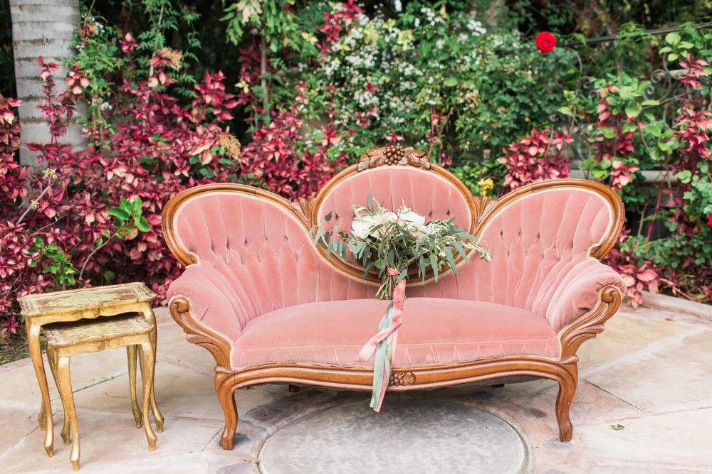 Provenance Rentals Vintage Pink Sofa with Bouquet.jpg