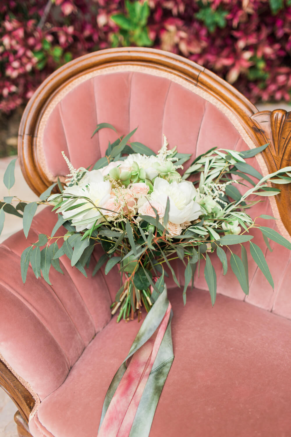 Provenance Vintage Rentals Pink Victorian Sofa with Bouquet 1.jpg