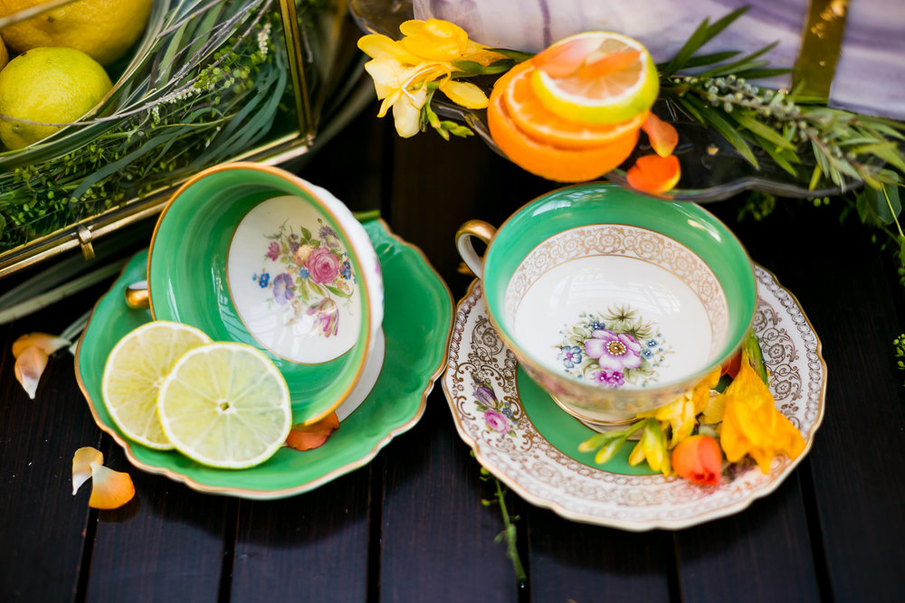 Ann Mismatched Tea Cups and Saucers