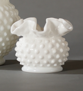 Maz Ruffled Hobnail Milk Glass Vessel