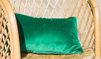 Martha Green Velvet Lumbar Pillow