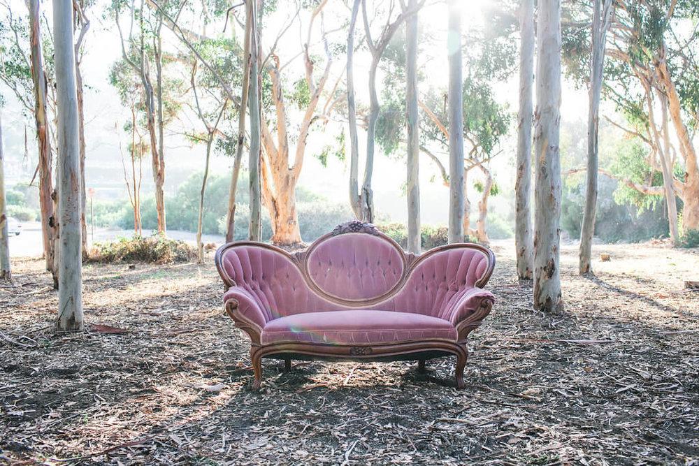 Wonderful Noreen Pink Victorian Sofa 1   Provenance Vintage Rentals Los Angeles  Vintage Victorian Sofa Rental Prop