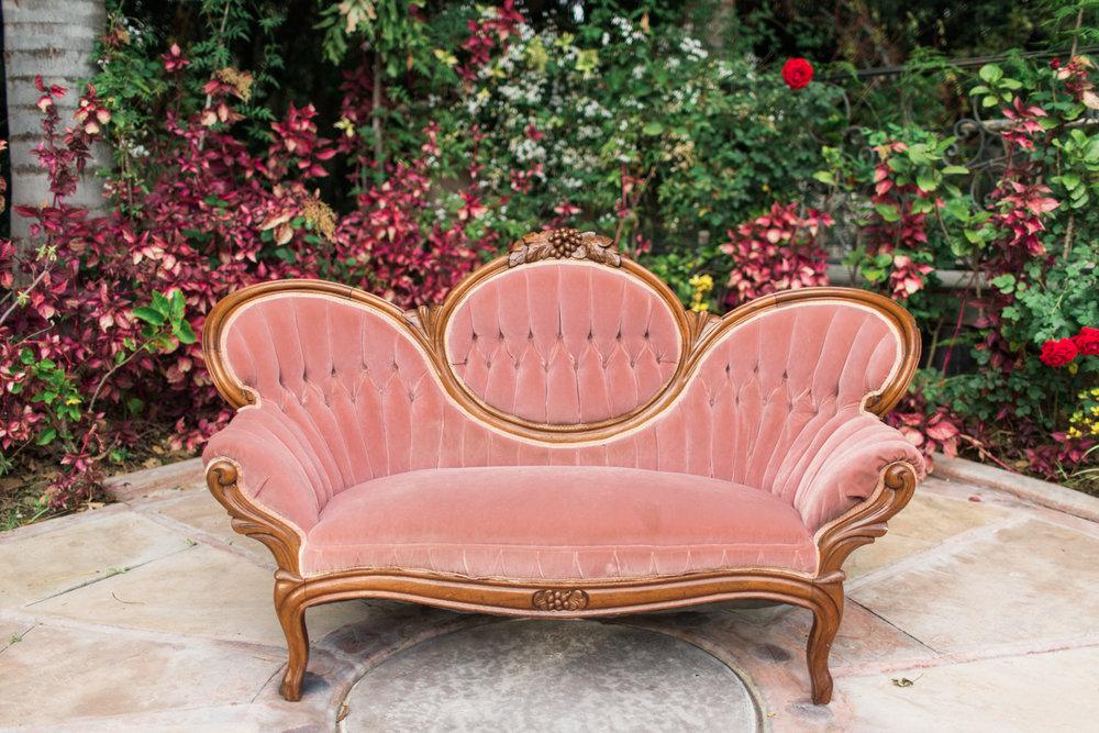 Noreen Pink Victorian Sofa 2   Provenance Vintage Rentals Los Angeles  Vintage Victorian Sofa Rental Prop