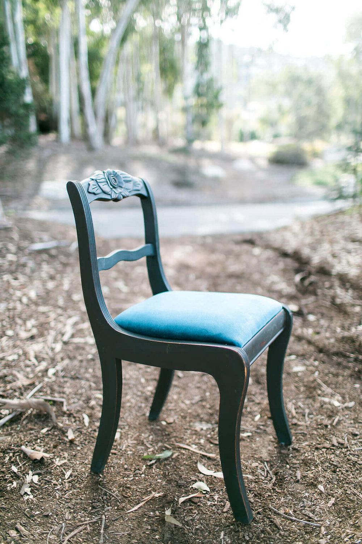 Barbara Blue Upholstered Chair - Provenance Vintage Rentals Los Angeles Sweetheart Table Rental Prop Rental Party Rental Los Angeles