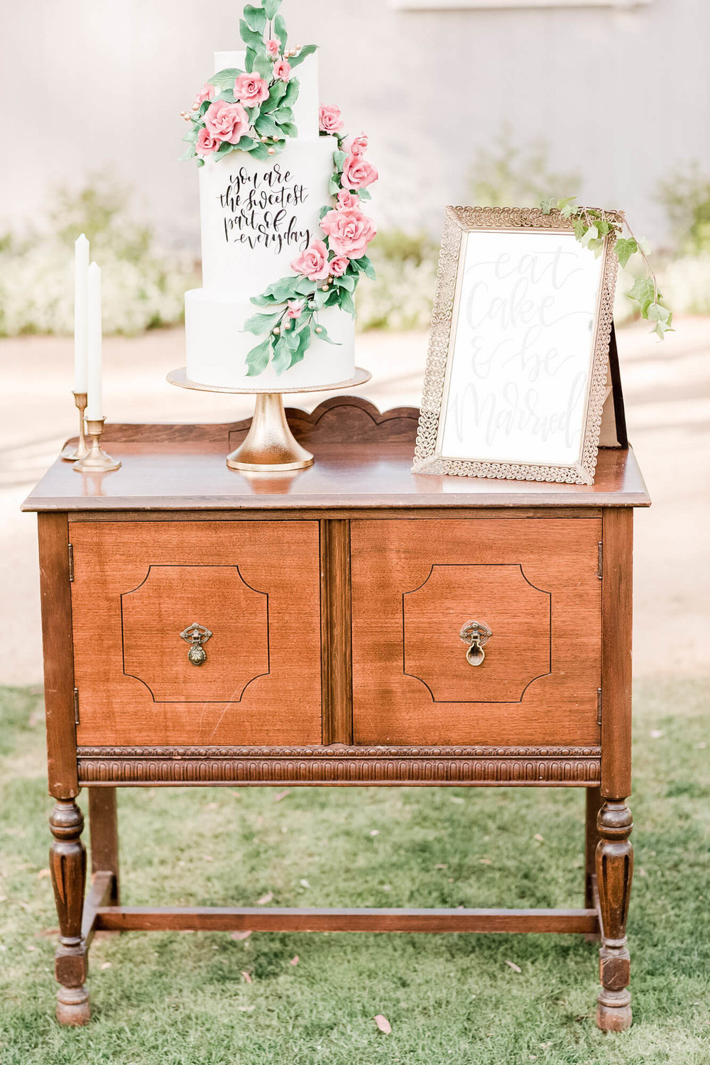 Arrow Mini-Buffet 1 - Provenance Vintage Rentals Los Angeles Cake Table Guest Book Table Favor Table Furniture Rental Prop Rental Los Angeles