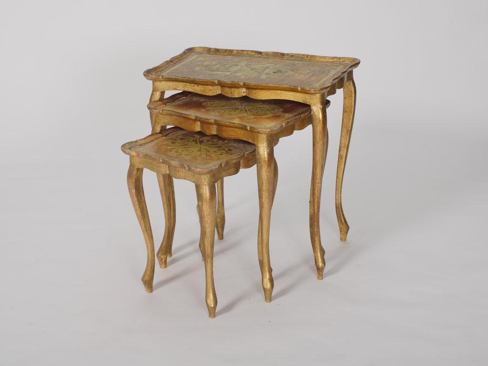 Chelsea Gold Nesting Tables, Set of Three 2 - Provenance VIntage Rentals Los Angeles Vintage Table Rentals Party Rentals Los Angele.jpg
