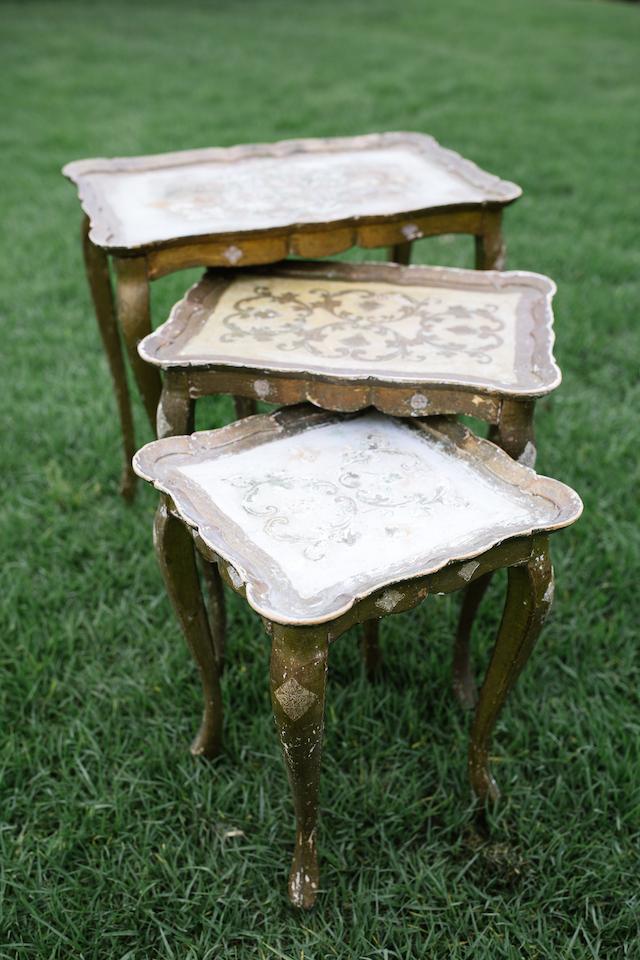 Isabella Gold Nesting Tables, Set of Three 1 - Provenance VIntage Rentals Los Angeles Vintage Rentals Near Me Party Rentals Los Angele Party Rentals Near Me Vintage Wedding Decor Near Me