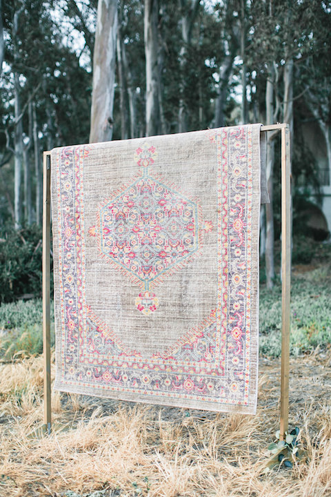 Jothika Overdyed Rug 1 - Provenance Vintage Rentals Vintage Bohemian Boho Rug Rentals Los Angeles Bohemian Furniture Rentals Boho Furniture Rentals Wedding Rugs Kilim Rugs For Rent