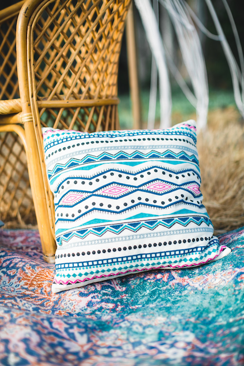 Skye Bohemian Throw Pillow 1 - Provenance Vintage Rentals Los Angeles Good Vibes Pillow Rental Pillow Rental Picnic Pillows Floor Pillow Rental