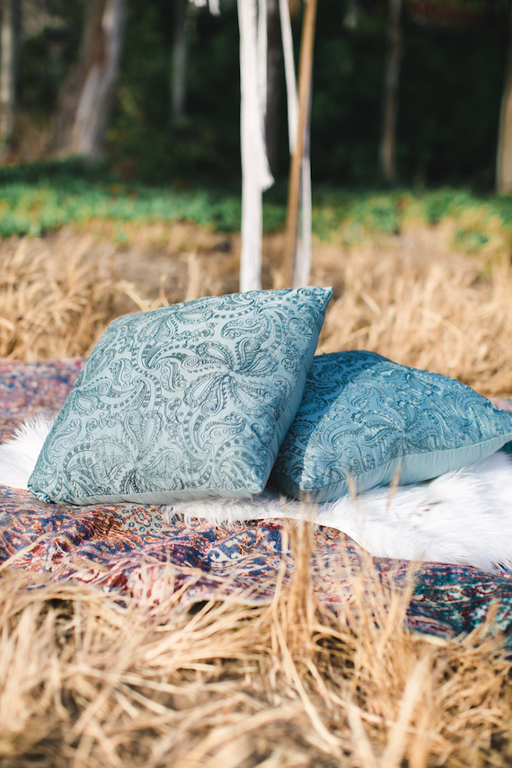 Emily Blue Pillow 1 - Provenance Vintage Rentals Los Angeles Pillow Rental Picnic Pillows Floor Pillow Rental