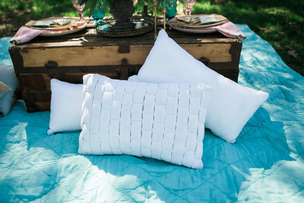 Blanche Woven Pillow 1 - Provenance Vintage Rentals White Pillow Rental Los Angeles Prop Rental Party Rentals Specialty Rentals
