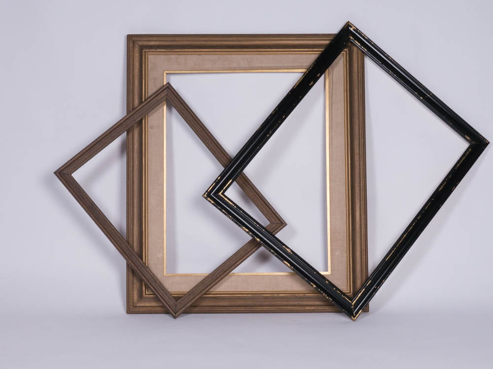 Lauren Large Frames, Set of Three 1 - Provenance Vintage Rentals Los Angeles Vintage Picture Frame Rental Suspended frame installation prop rental prop styling
