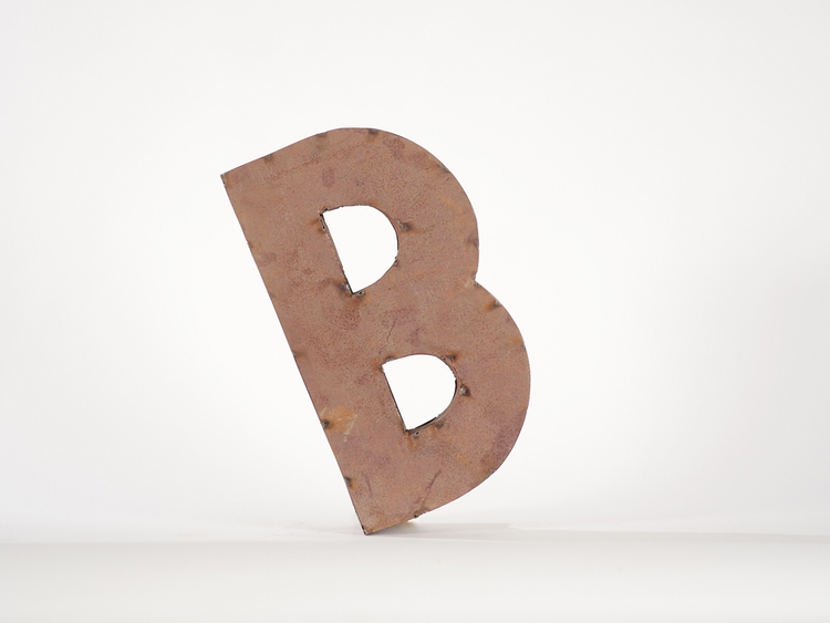 Rusty Letter B - Provenance Vintage Rentals Los Angeles Vintage Prop Rentals Party Rentals Specialty Rentals Los Angeles