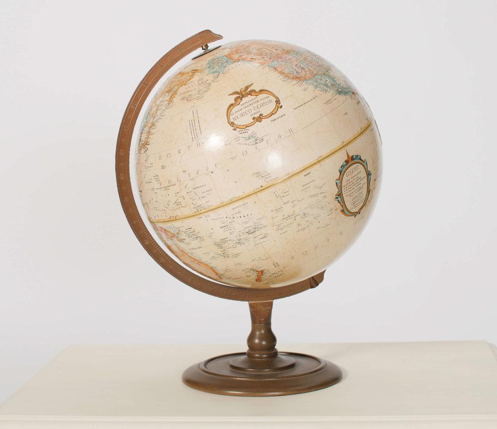 Evan White World Globe 2 - Provenance Vintage Rentals Los Angeles Vintage Globe Rentals Travel Theme Vintage Wedding Decor Prop Rentals Party Rentals Specialty Rentals