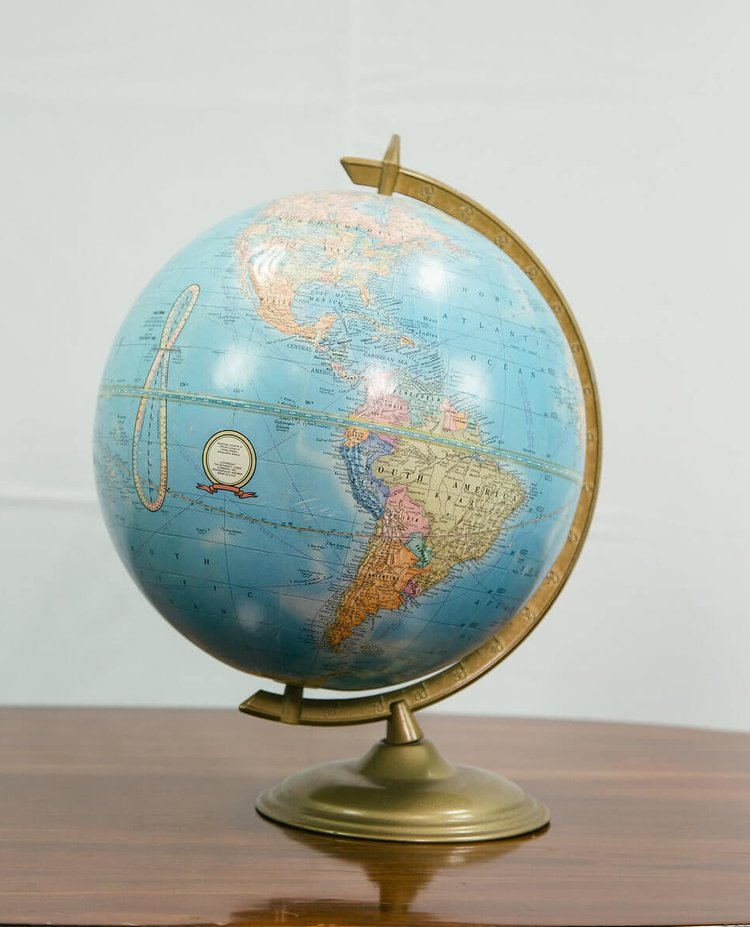 Francis Blue World Globe - Provenance Vintage Rentals Los Angeles Vintage Globe Rentals Prop Rentals Vintage Wedding Decor Party Rentals Specialty Rentals Los Angeles