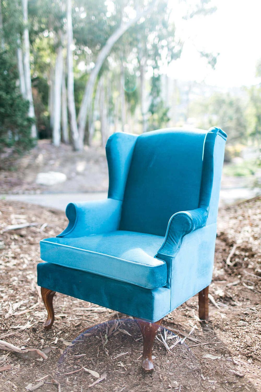Shanna Blue Velvet Upholstered Armchair - Provenance Vintage Rentals Los Angeles Vintage Lounge Furniture Rental Sweetheart Table Furniture Party Rental Prop Rental Prop Styling