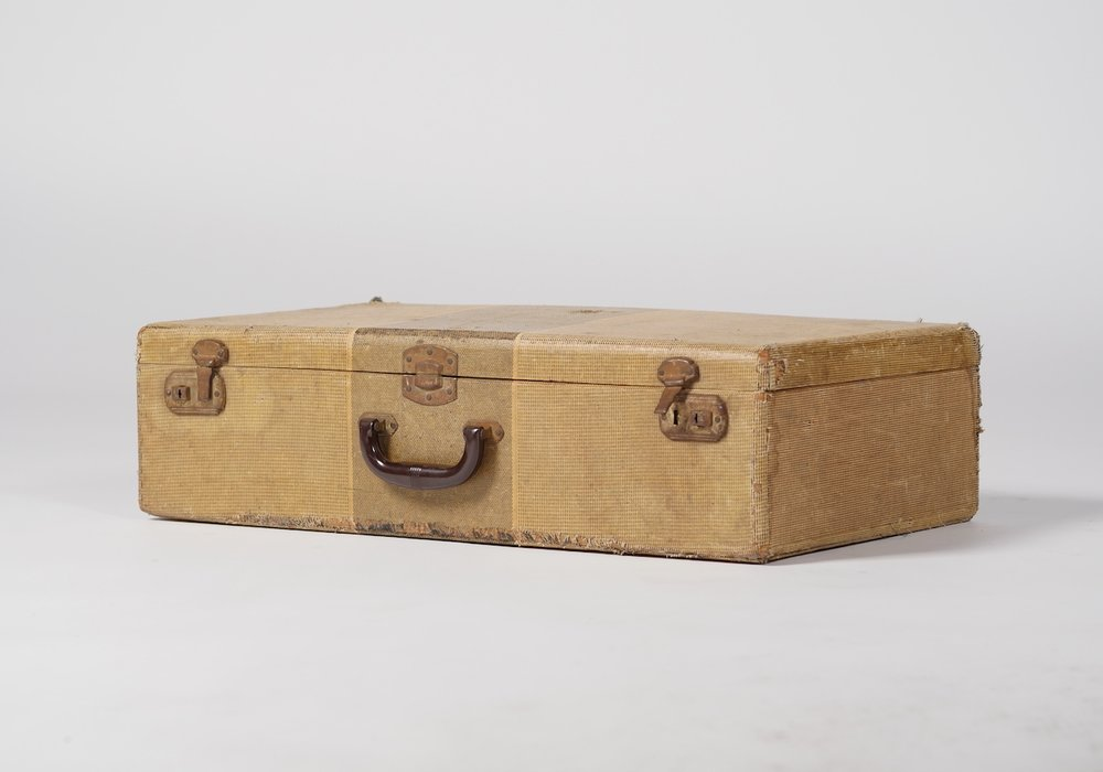 Jasper Striped Suitcase - Provenance Vintage Rentals Los Angeles Vintage Luggage Rental Vintage Suitcase Rentals Vintage Travel Theme Wedding Vintage Wedding Decor Rentals Los Angeles Party Rentals