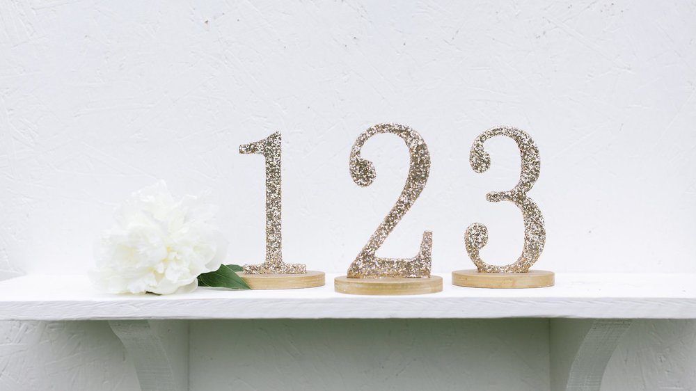 Glitter Gold Table Numbers