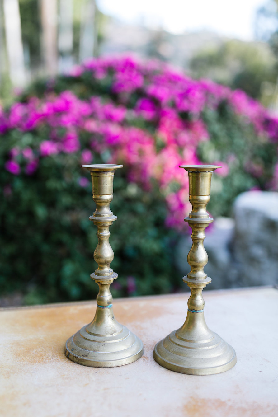 Parker Tall Brass Candlesticks, Set of Two