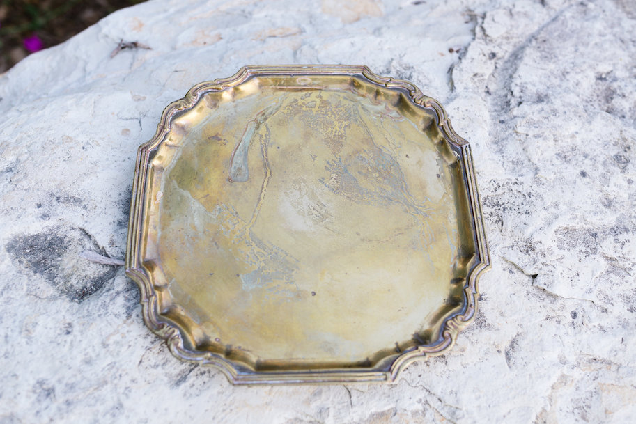 Saffron Ornate Square Gold Tray