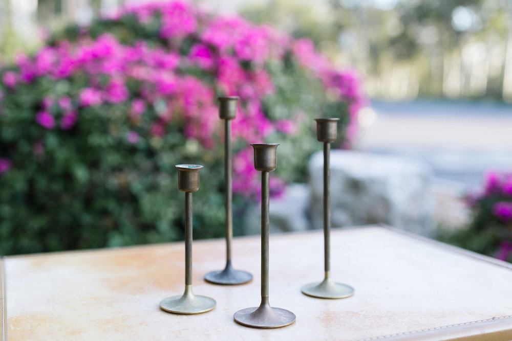 Mia Tapered Brass Candlesticks, Set of Four