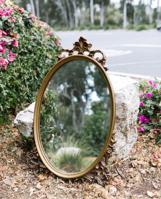 Guinevere Ornate Oval Mirror - Provenance Vintage Rentals Los Angeles Vintage Rentals Near Me Gold Vintage Mirror Rental Near Me Calligraphy Mirror Party Rentals Near Me Los Angeles