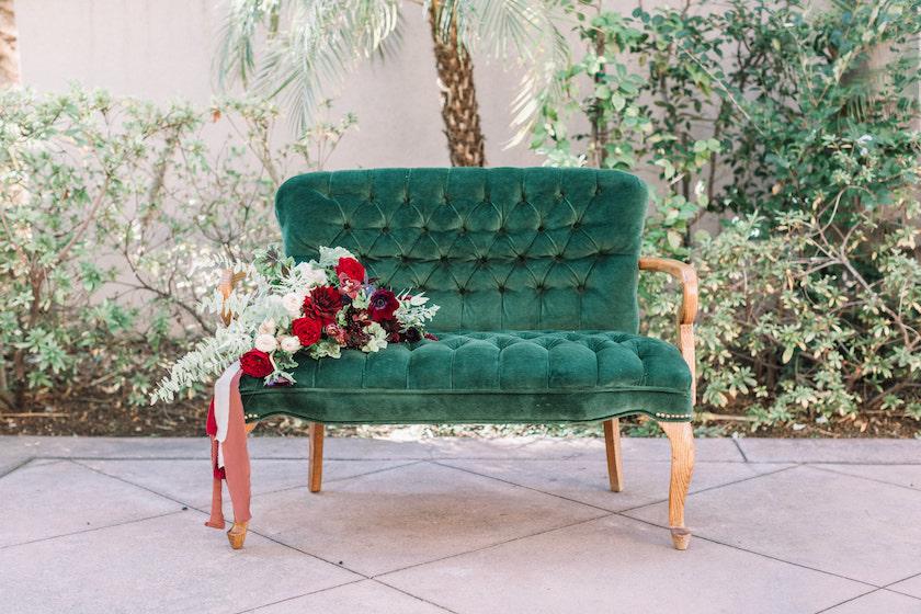 Kelly Vintage Tufted Settee 1 - Provenance Vintage Rentals Los Angeles Green Vintage Settee Furniture Rentals Los Angeles Prop Rentals Prop Styling Party Rentals Los Angeles