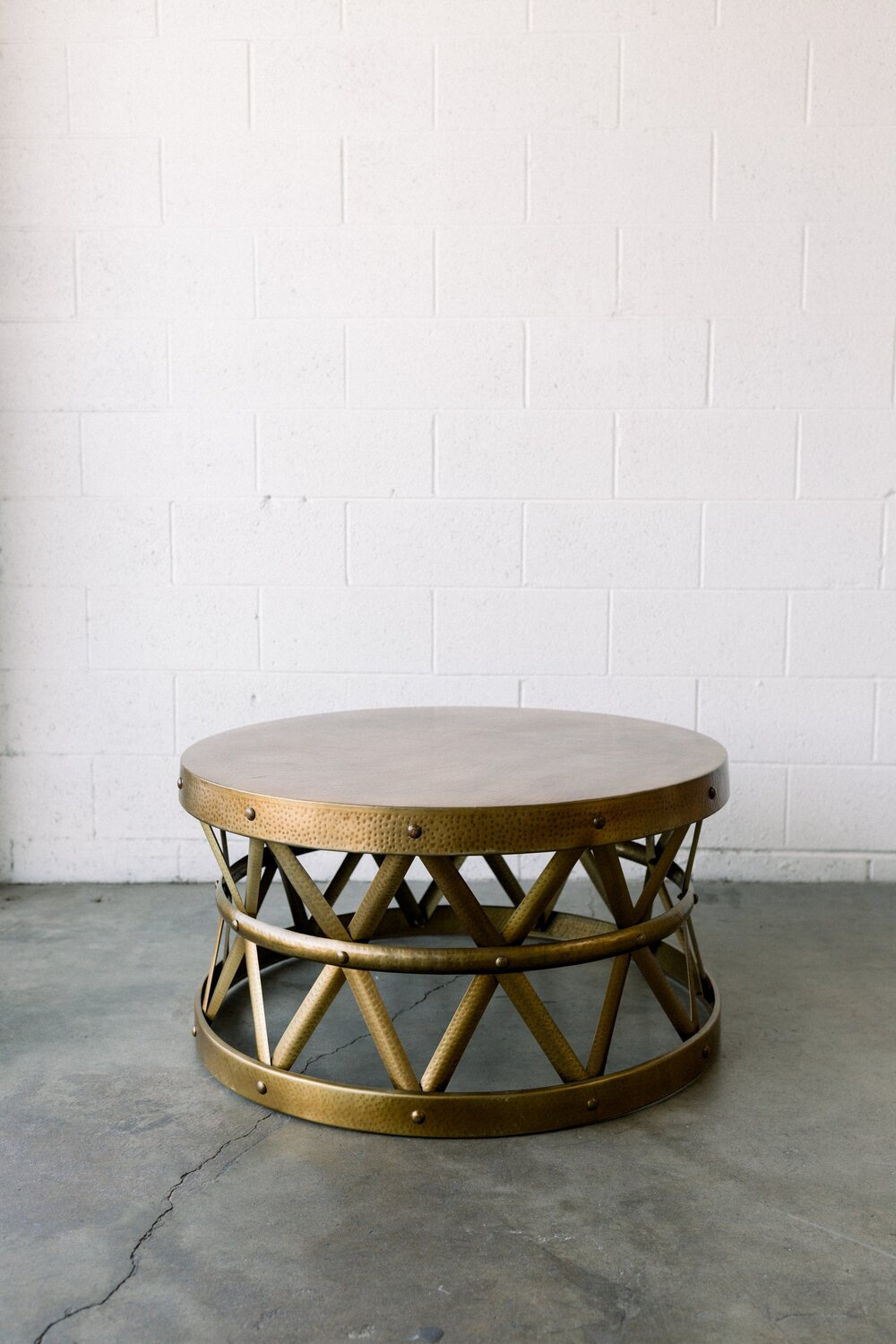 Saachi Brass Drum Coffee Table