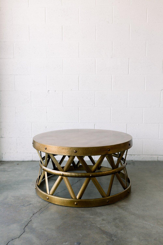 Saachi Brass Drum Coffee Table