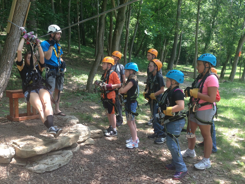 Expert Zip Line guides and youth group