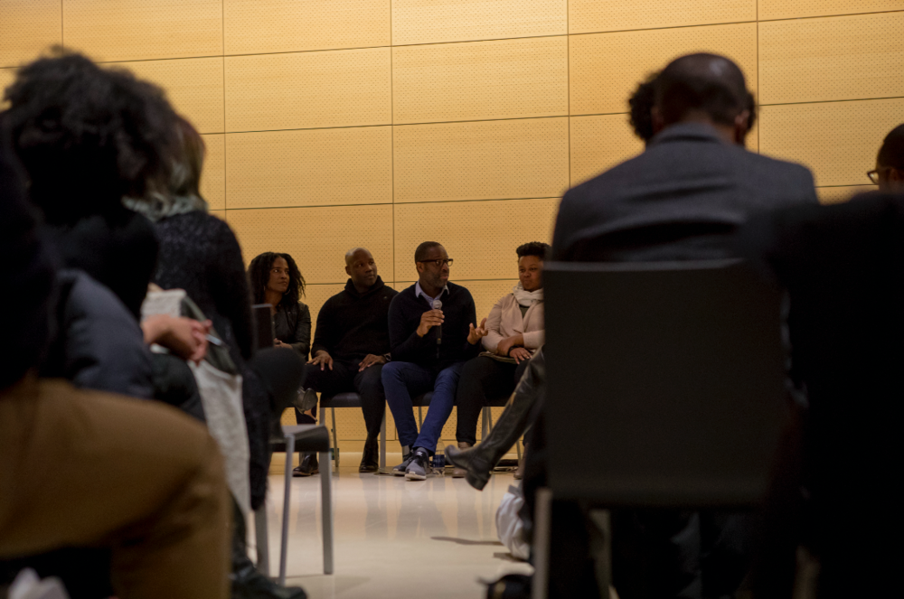 Photo Credit: AIGA NY. Panelists Left to Right  Ronda Thompson  — Creative Director, Essence Magazine,  Tim Allen  — Partner, Microsoft,  Eddie Opara  — Partner, Pentagram,  Antionette Carroll  — CEO, Creative Reaction Lab,