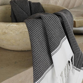 Buldan Textile   - Grey & White Stripe - $34.75