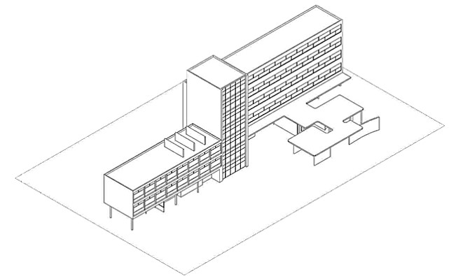 Harmonic ration and rendering view of the multi-storey hotel for the Centre de vacances by Eileen Gray