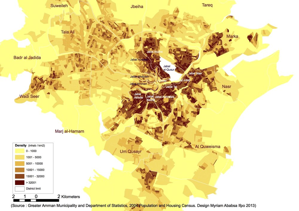 Population and Block Density in Amman