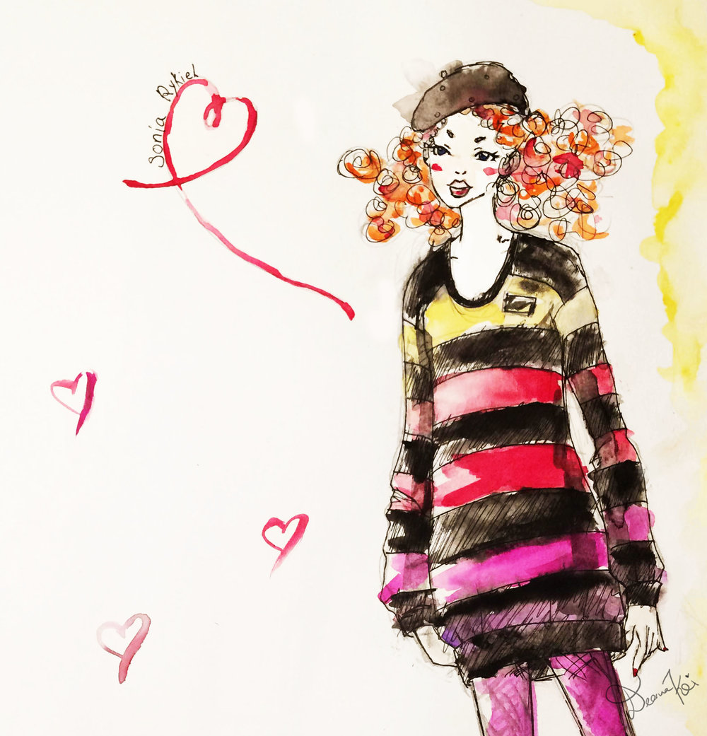 Sketch of a Sonia Rykiel look for H&M - Done in watercolor and Ink