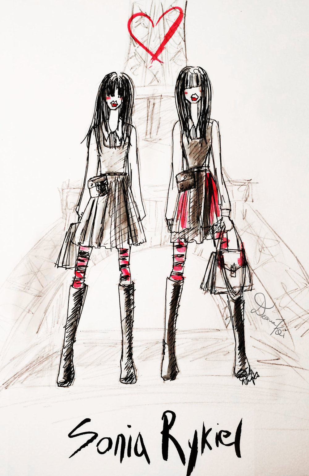 Rough sketch of a Sonia Rykiel FW16.17 Ad Campaign Featuring Grace Hartzel and Matilda Dods